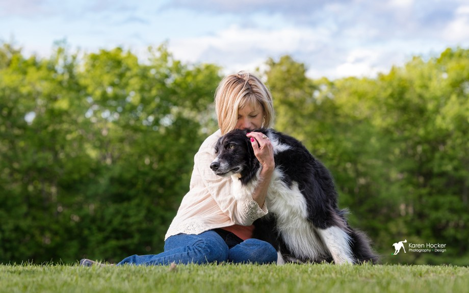 Human hugging Border Collie sitting in grass