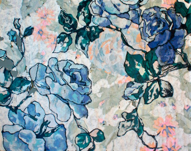 Karen Stone, Blue roses…her cashmere dress, 2012. Cotton and linen fibre, 1.9 x 2.4 metres.