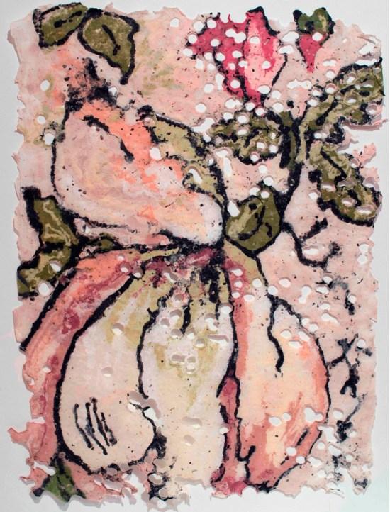 "Karen Stone, ""Curiouser and curiouser"", 2012. Cotton and linen fibre, 60 x 90 cm."