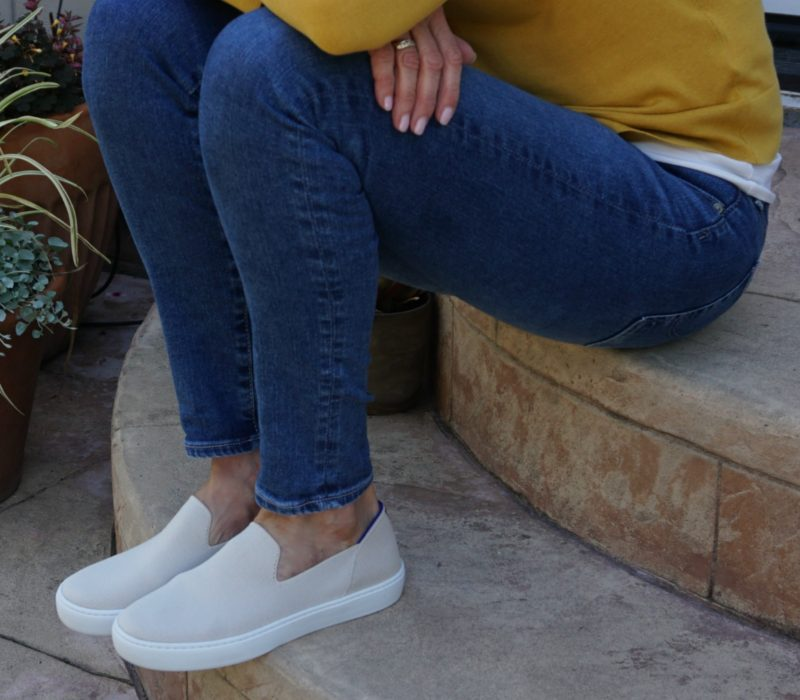 Sneakers + a Mustard Color Cardigan