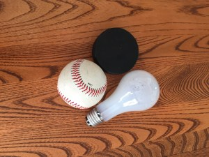 Portions - Baseball, Hockey Puck, Light Bulb