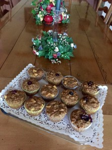 5 Week Bran Muffins, bananas, blueberries, walnuts, peaches, apples