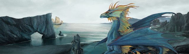 Image décorative : dragonne se détachant sur un paysage cotier