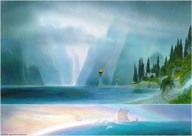 Peinture en deux panneaux. Celui du haut montre une arche et un escalier blanc recouverts de feuillages ouvrant sur une grande crique. Celui du bas montre deux bateau en forme de cygne quitter la terre pour s'envoler dans le ciel.