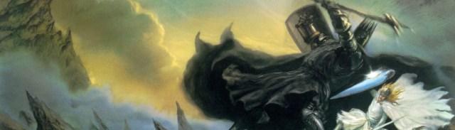 Image décorative : détail d'une peinture montrant un combat entre une immense silhouette humaine vêtue d'une armure noire et d'une masse d'arme, contre une elfe aux longs cheveux blonds, vêtu de blanc et armé d'une épée et d'un grand bouclier.
