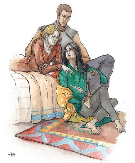 Image décorative : aquarelle représentant trois de mes personnages. L'un est allongé sur à plat-ventre sur le lit, le second est assis à côté de lui avec une main sur son épaule, le troisième est assis sur le tapis au pied du lit, un bras sur le genou du second, et tient un carnet que le premier est en train de montrer.