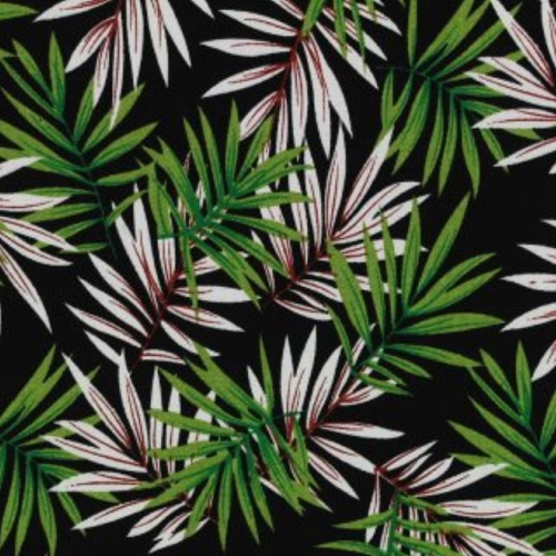 Jungle Leaves stretchkatoen groen