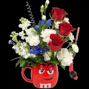 Rock Our Red m&m Flower Mug