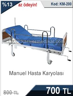 Manuel çevirmeli hasta karyolası