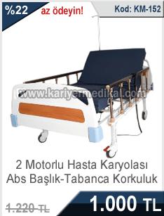Abs Başlıklı Tabanca Korkuluklu 2 Motorlu Hasta Karyolası