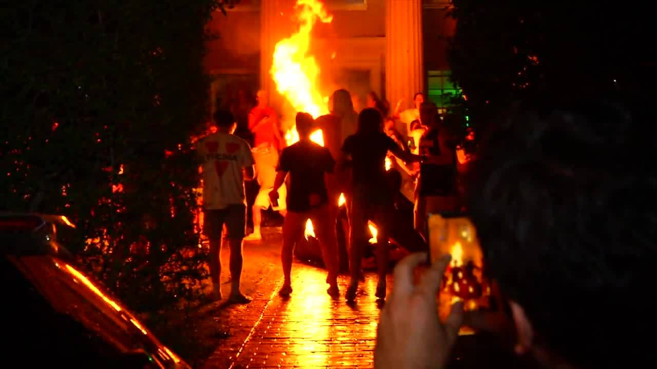 Fans burn couch