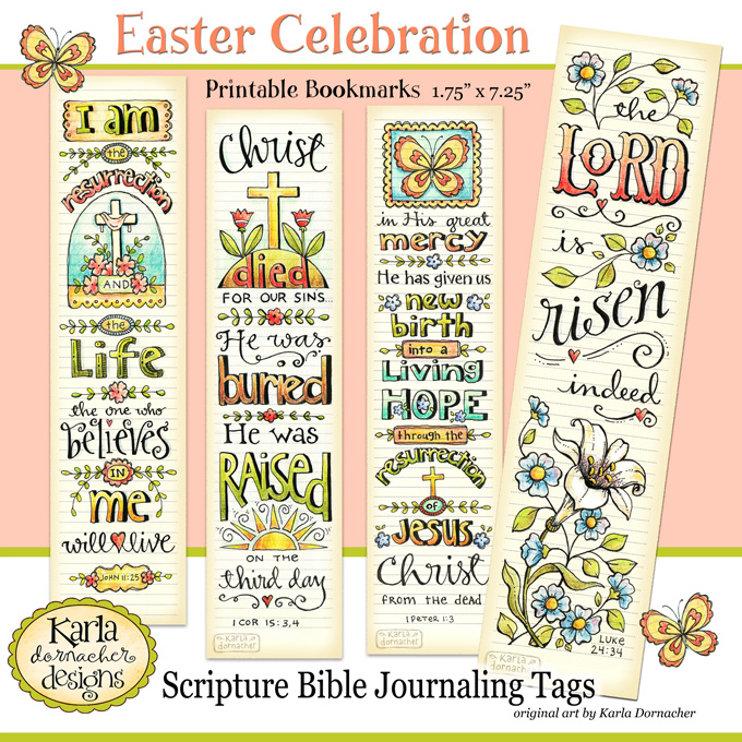 photo about Printable Bible Bookmarks titled Easter Entire Colour Printable Bible Journaling Bookmarks