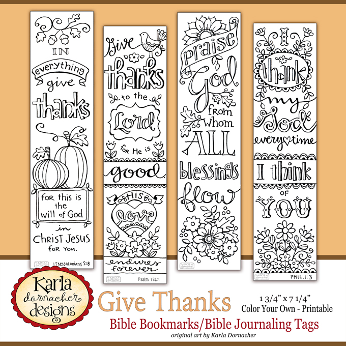 Give Thanks Color Your Own Bible Journaling Bookmarks