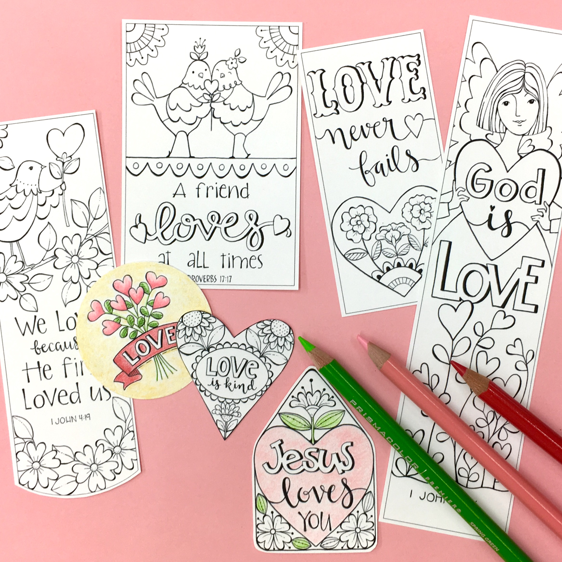 Valentine Love Bible Journaling Printable Coloring Collection