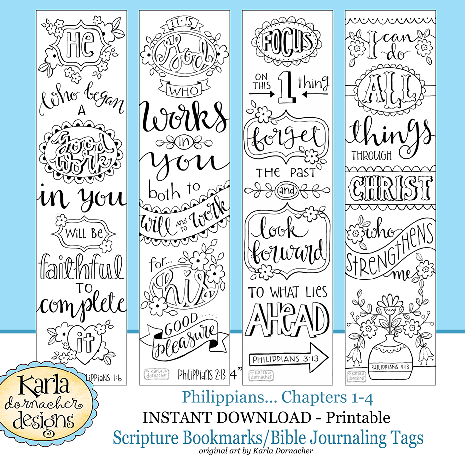 PHILIPPIANS Bible Journaling Templates Tracers Color Your Own Bookmarks INSTANT Download