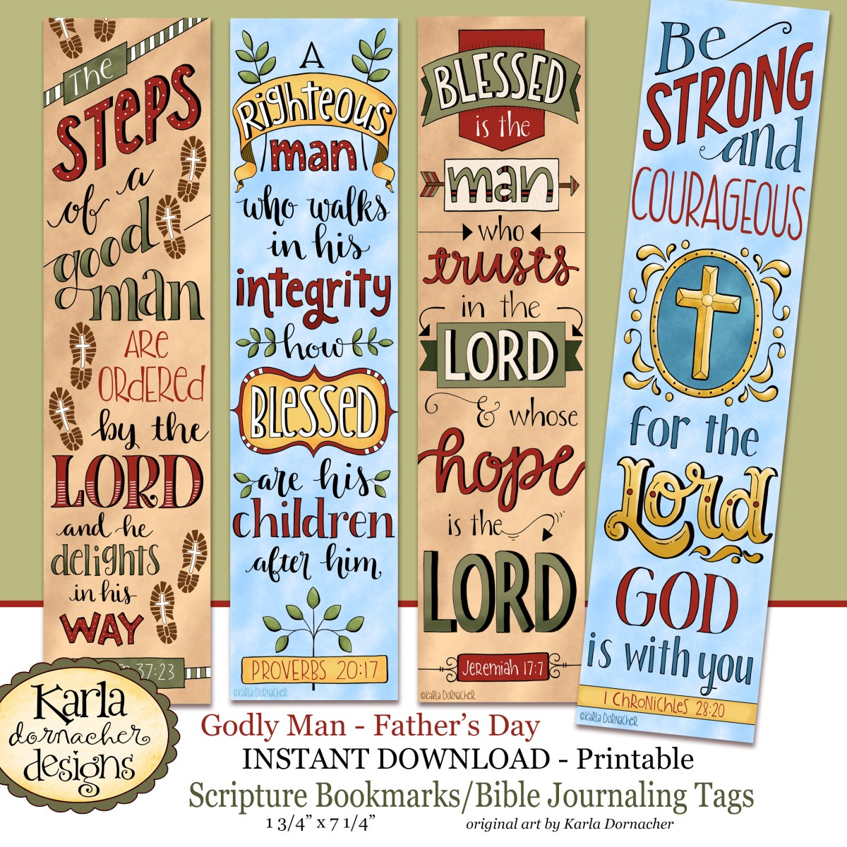 religious bookmark templates - fathers day godly man full color bookmarks bible
