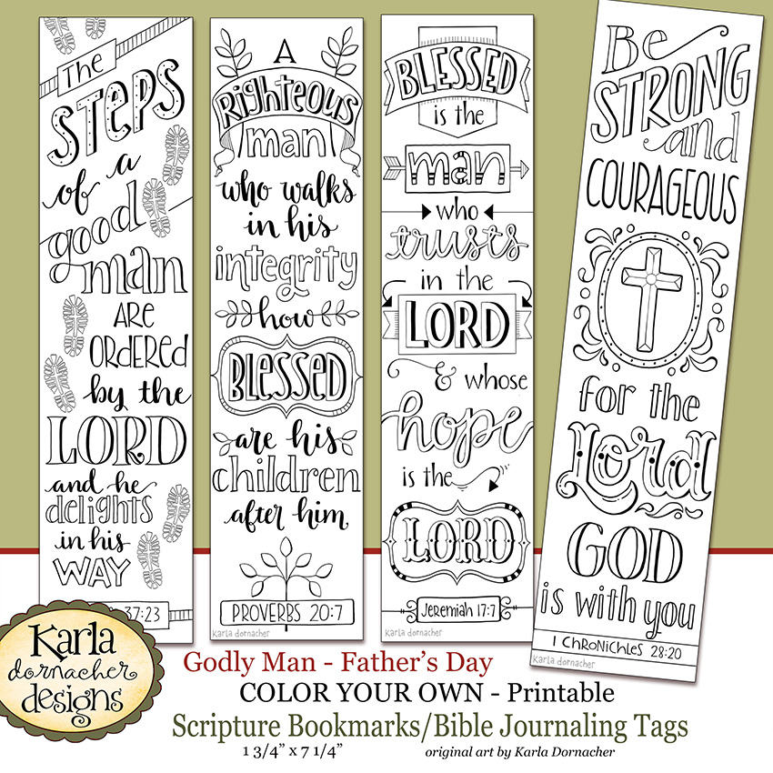 Fathers day godly man color your own bookmarks bible for Religious bookmark templates