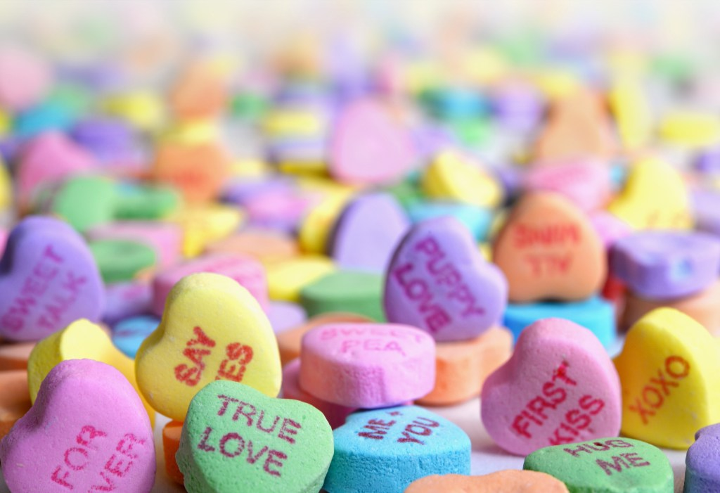 Photo of candy hearts