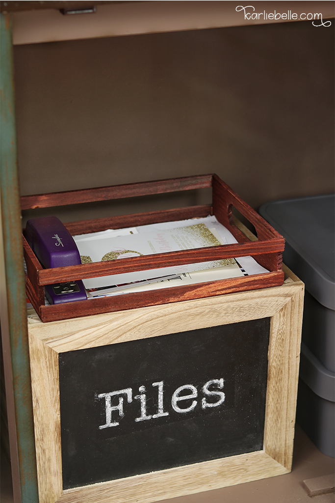Decorative Command Center- Hide Invites and Papers in Tray