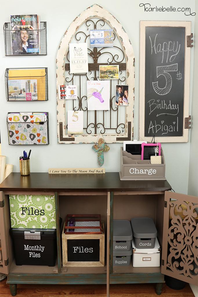 Decorative Command Center- Inside Cabinet