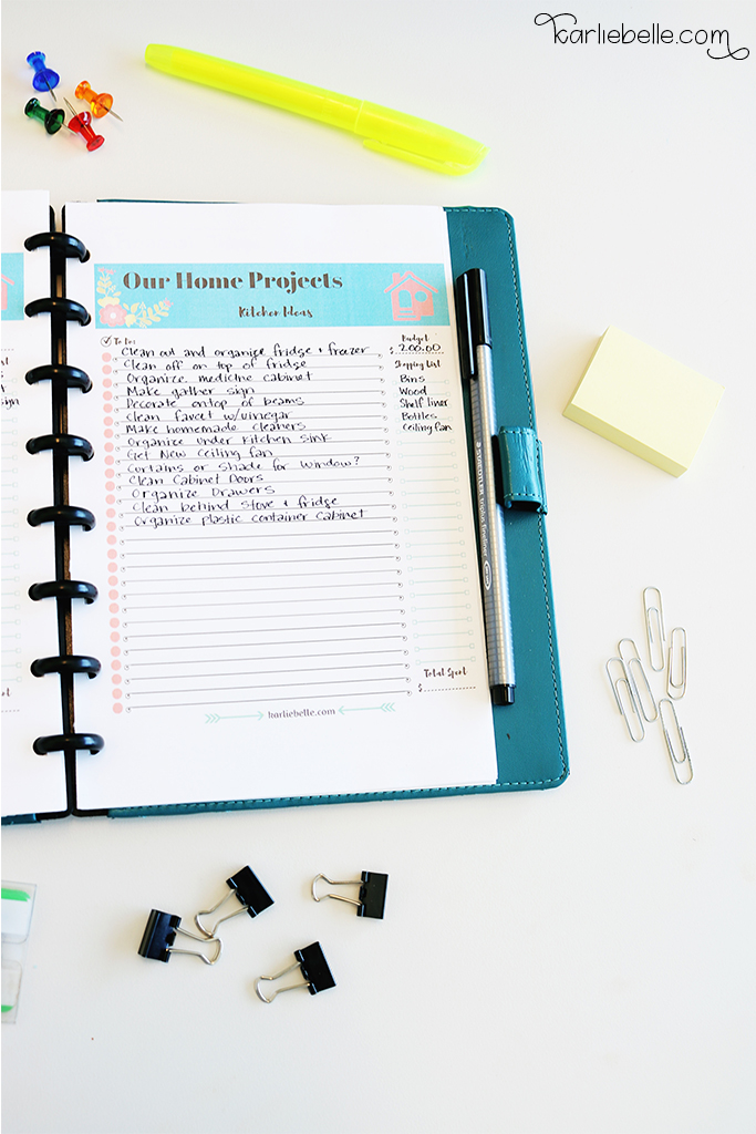 Tackling your Home Project List- Planner