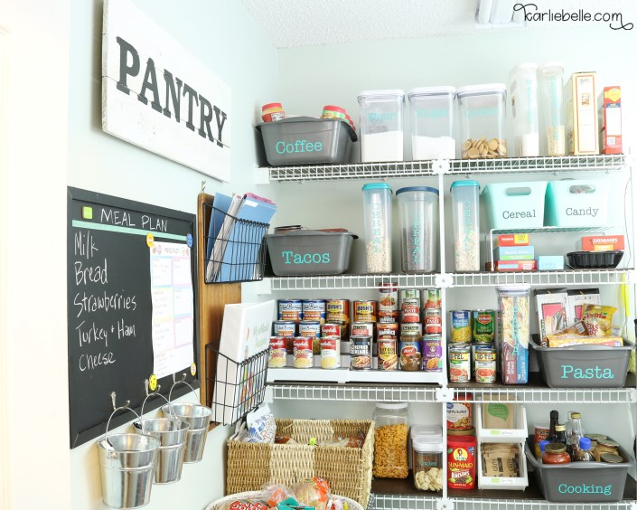 Create a Meal Planning Center in your Pantry or Kitchen. Keep Recipes Organized and use Free Printable to plan out your weekly meals.