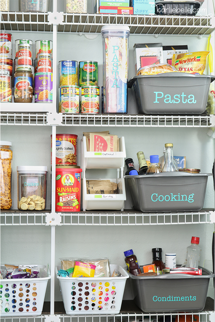 An Organized Pantry With Wire Shelving Hack Karlie Belle