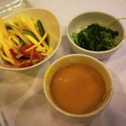 Thai Mango Salad, Seaweed Salad and Miso Soup