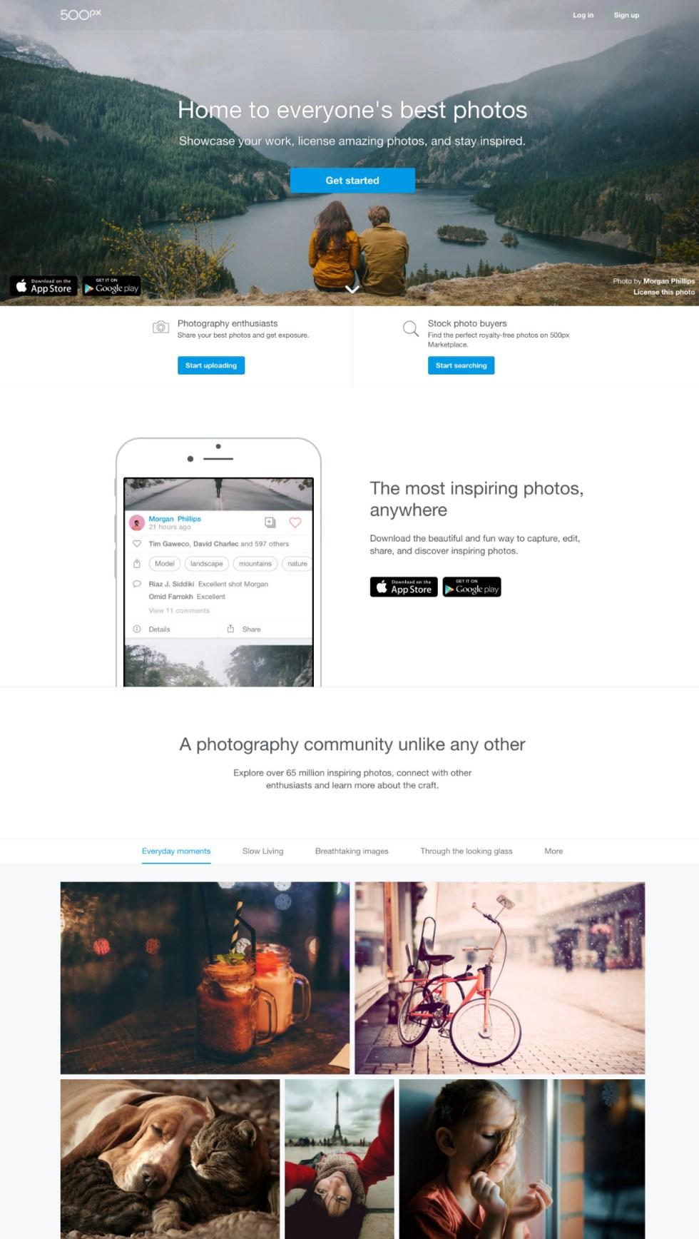 500px online photography portfolio
