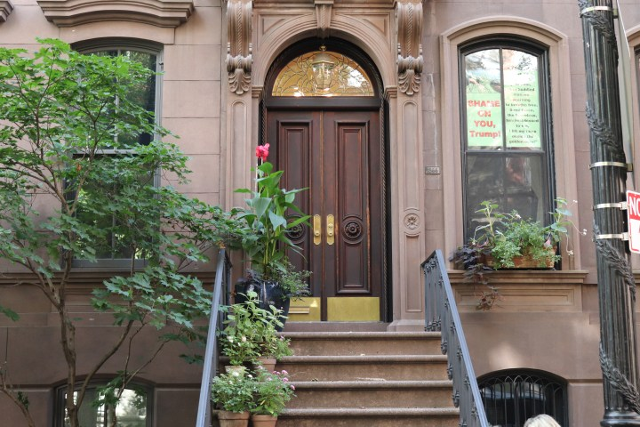 The front door of the building where Carrie Bradshaw lives on Sex and the City.