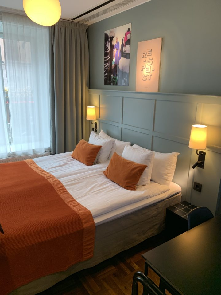 A bedroom at the Scandic Grand Central Hotel in Stockholm.