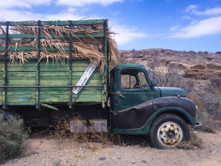 An abandoned banana truck is the reserva ambimental in San Blas