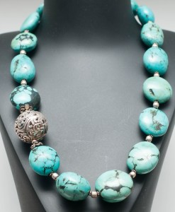 Tibetan Turquoise with Silver Bead