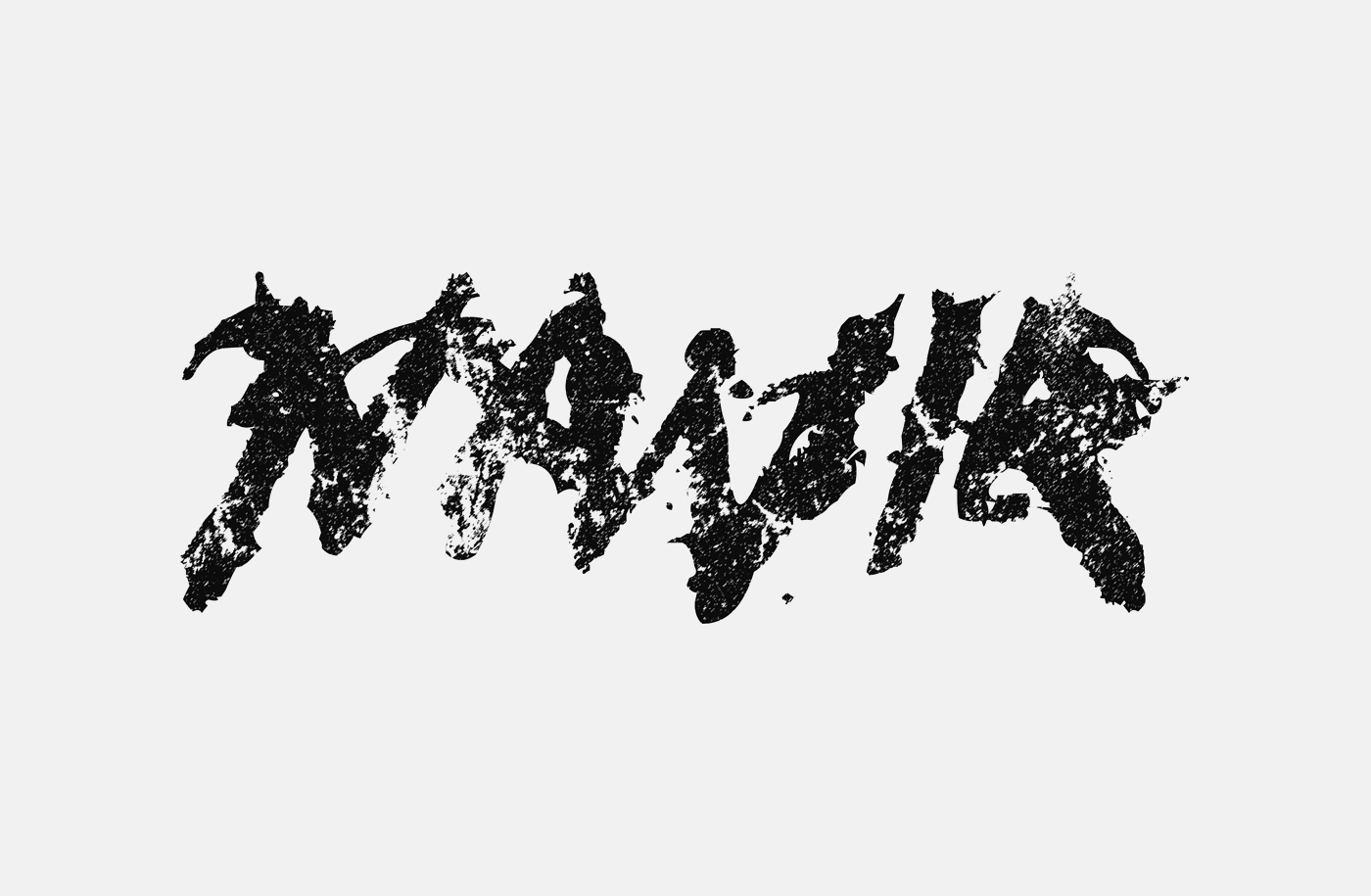 Navia Logo (black version), ink on paper and then Photoshop. Heavy Metal Band Logo Design.