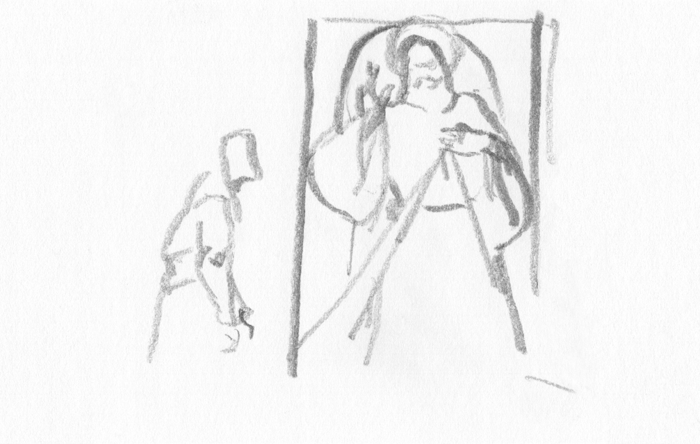 Pencil Drawings - Figure Drawing : In the Cathedral in Kolobrzeg county in Poland II, pencil drawing, 2017.