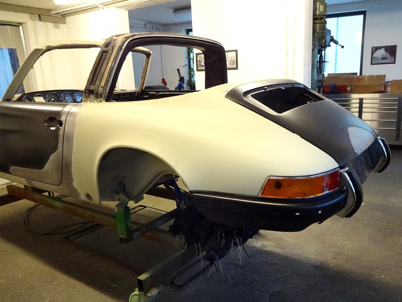 Karosserie-Restauration Porsche 911 Targa S (1963), Heck rechts mit Kotflügel