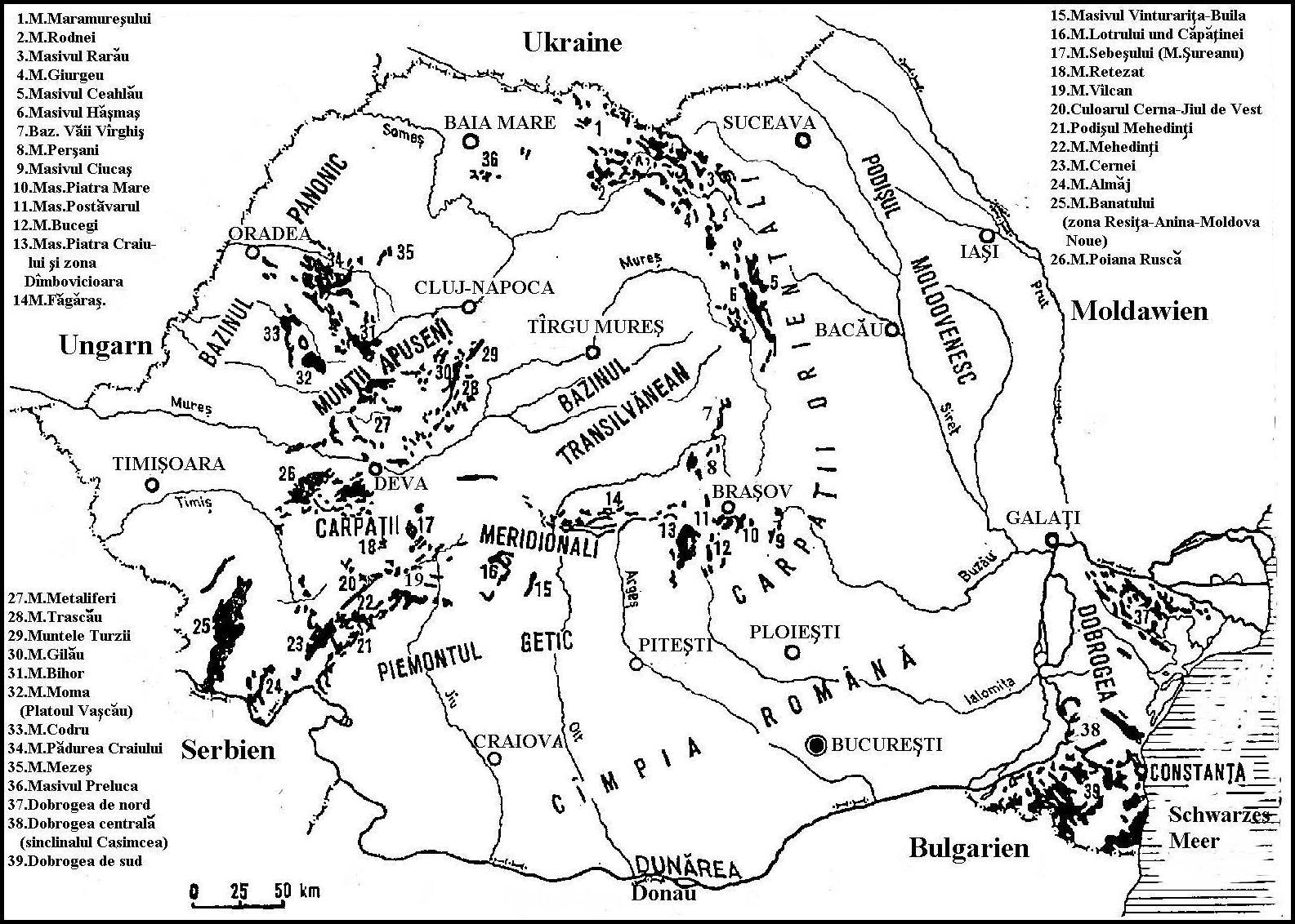 Berge Rumanien Karte