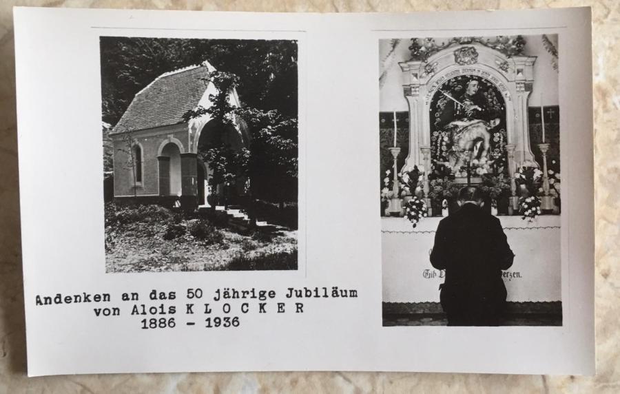 Andenken an das 50 jährige Jubiläum von Alois Klocker 1886 - 1936