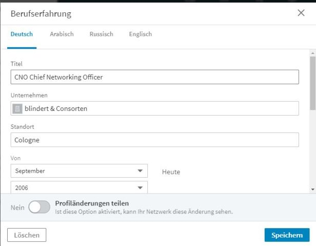 Profil in fremder Sprache bei LinkedIn anlegen
