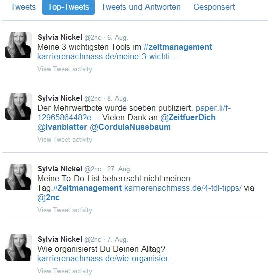 Top Tweets August 2015 (c) Sylvia Nickel