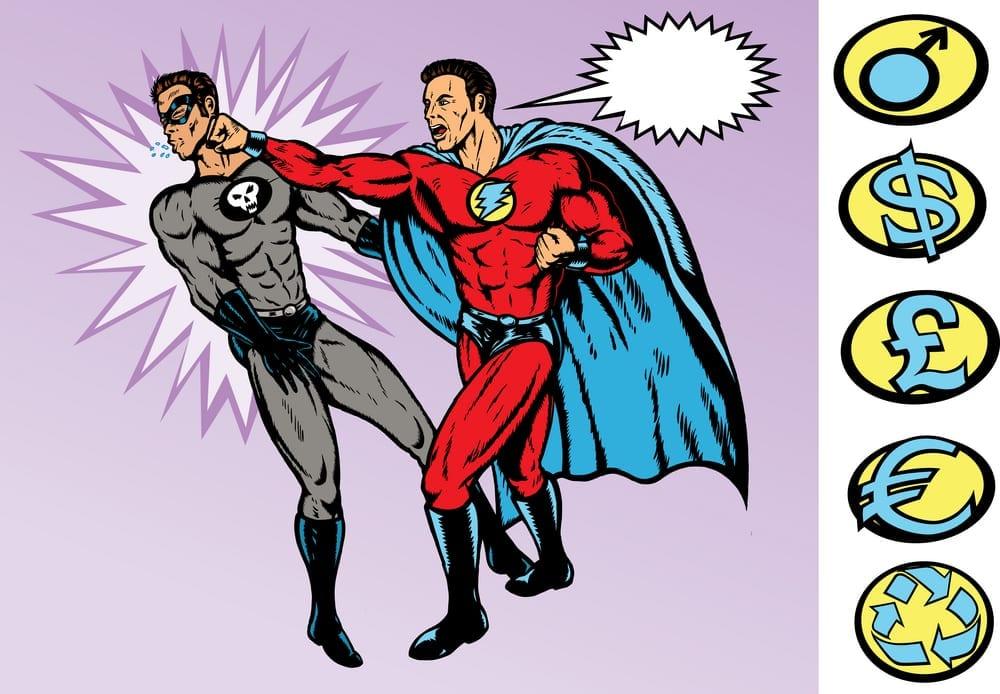 superheroes, good and evil,