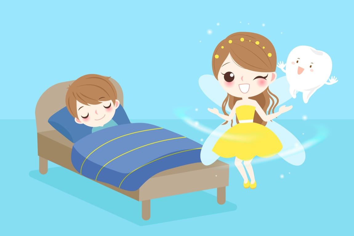 Cartoon Tooth Fairy with wand and tooth winking at sleeping boy