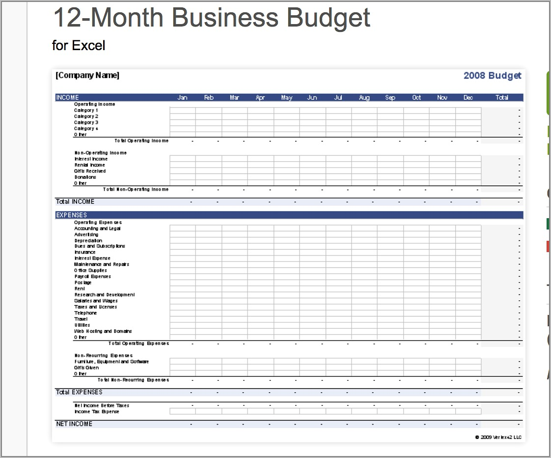 Small Business Worksheet Template