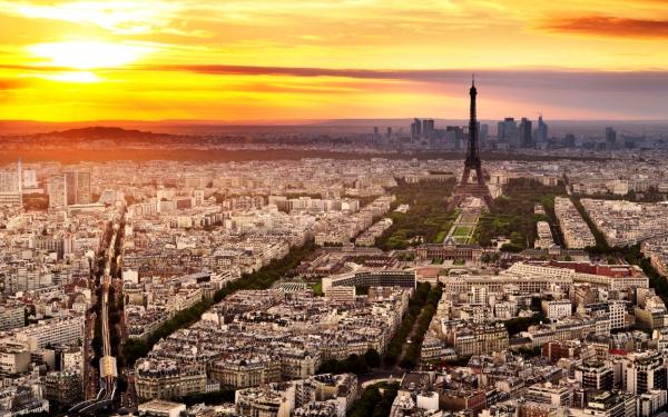 Картинка Закат солнца в Париже » Города » Картинки 24 ...