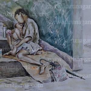 Online, Art, Art Gallery, Online Art Galley, Sri Lanka, Karunagama, Watercolor, Water Colour, Baby Sitting, Portrait, Landscape, Babysitter, People, Sri lanka paintings,
