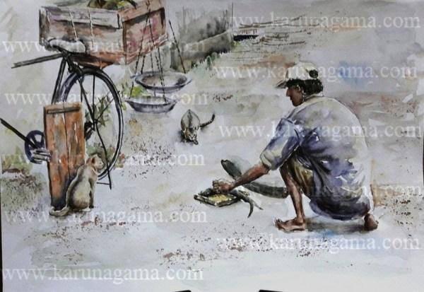 Online, Art, Art Gallery, Online Art Galley, Sri Lanka, Karunagama, Watercolor, Water Colour, Water Colors, Paintings, Sri Lanka, Online Arts, Art Gallery, Sarath Karunagama, Landscape, Fish, Seller, Cat, People,Online, Art, Art Gallery, Fish, Fish Seller paintings, Fish trade, Sri lanka paintings,