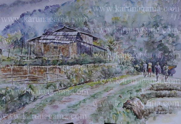 Online, Art, Art Gallery, Online Art Galley, Sri Lanka, Karunagama, Watercolor, Water Colour, Meemure paintings, Meemure village paintings, Meemure Village, Village paintings, Remote villages, Sri lanka Villages, Water Colors, Paintings, Sri Lanka, Online Arts, Art Gallery, Sarath Karunagama, Online Art Gallery, Portrait, Landscape, Meemure, Farmers, , Sri lanka paintings,