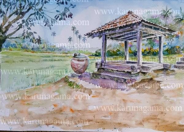 Online, Art, Art Gallery, Online Art Galley, Sri Lanka, Karunagama, Watercolor, Water Colour, Ambalama, Sri Lanka Ambalama, Ambalama, Sri Lanka Ambalama, Sri lanka paintings,