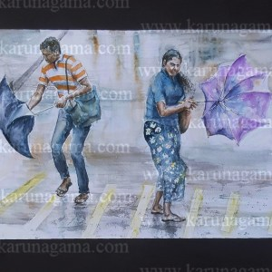 Online, Art, Art Gallery, Online Art Galley, Sri Lanka, Karunagama, Watercolor, Water Colour, Wind, Wind in Sri Lanka, Umbrella, Paintings of Umbrellas, People in Sri lanka, Water Colors, Paintings, Sri Lanka, Online Arts, Art Gallery, Sarath Karunagama, Online Art Gallery, Portrait, Landscape, Umbrella, Wind, Storm, Sri lanka paintings,