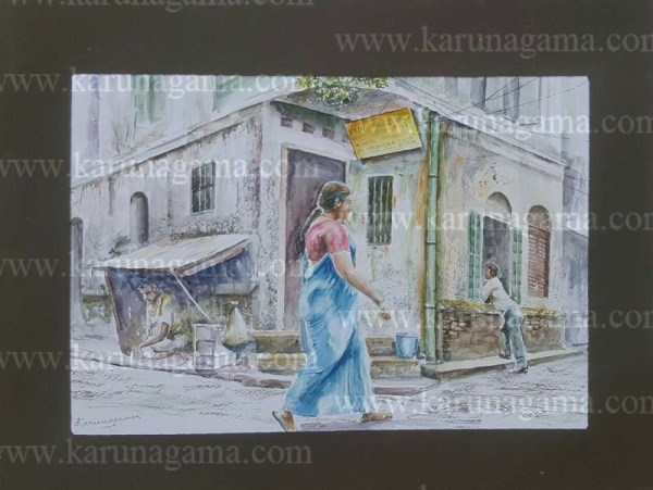 Online, Art, Art Gallery, Online Art Galley, Sri Lanka, Karunagama, Watercolor, Water Colour, Sarath Karunagama, Indian Streets, India, People, Sri lanka paintings,